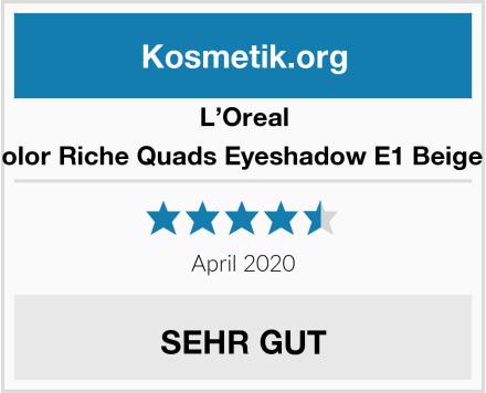 L'Oreal Paris Color Riche Quads Eyeshadow E1 Beige Trench Test