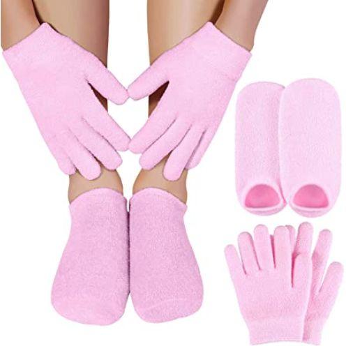 TOOGOO Feuchtigkeits Spendende Gel Socken + Handschuhe